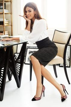 Black High Waist Pencil Skirt White Blouse and High Heels