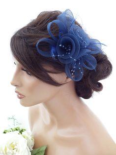 Elegant Navy Blue Flower Bow Mesh Net Pearl Hair Grip Fascinator Feathers Races