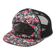Multi Floral Beach Girl Trucker Hat ($20) ❤ liked on Polyvore featuring accessories, hats, acessorios, caps, caps hats, beach hat, truck caps, strap hats and floral cap