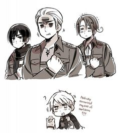 Hetalia x Attack on Titan This is perfect japan:mikasa, germany:eren, italy:armin annnd prussia:jean😄 Fandom Crossover, Anime Crossover, Tokyo Ghoul, Spamano, Hetalia Axis Powers, Another Anime, Comic, Prussia, All Anime