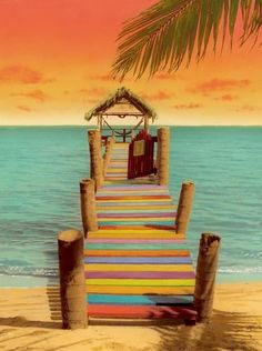 Amazing Colorful pier at beach