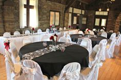 Damask Wedding Reception in Allison Peabody Hall at the Abe Martin Lodge - Brown County State Park