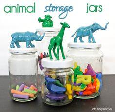 Animal Jar DIY! #nursery #craft storage