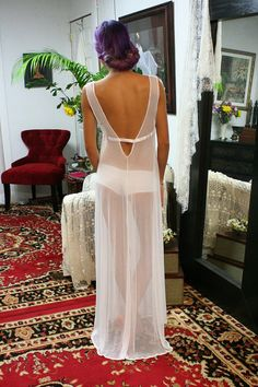 White Gossamer Lace Bridal Nightgown Bridal by SarafinaDreams