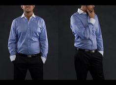 The Stiff Collar Blue Herringbone Bankers Shirt -  the exclusive collection from designers and boutique brands on Koolkart.com
