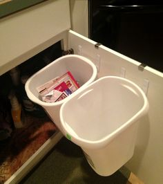 Hang recycle bins under sink with Command(TM) Hooks!