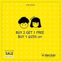 Shopping for children doesn't get easier than this. Adorn your kids with Allen Solly's Kids collection at the End of Season Sale.