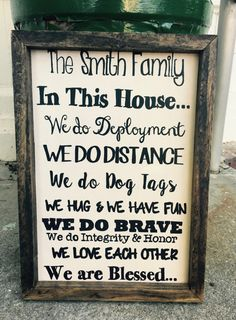 Family Military Sign 14 X 10 by MBCreations21 on Etsy