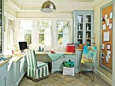 Home Office , Atmospheric Home Office Cottage Style : Home Office Cottage Style With Beige Walls And Turquiose Cabinets And Silver Pendant Lighting And Cafe Curtains And Slipcovered Chair