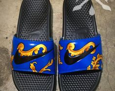 All designs are Professionally Prepared, Painted, and Clear Finished. These slides can be worn casually and are WATERPROOF. All slides are available in Mens sizes however, a (Mens, Womens and International) Nike Sizing Chart can be found below. Order your corresponding size in Mens _________________________________________________________________  Production Period:  All products are made to order. Typical turnaround time is 1 week BUT, shipping will VARY based on the amount of pending…