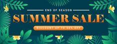 Special offer summer sale banner templat... | Premium Vector #Freepik #vector #banner #frame #sale #abstract Summer Banner, Sale Banner, Banner Template, Summer Sale, Banner Design, Green Leaves, How To Draw Hands, Templates, Frame