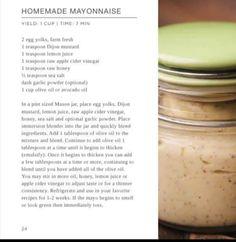 Cleansing Diet, Raw Apple Cider Vinegar, Homemade Mayonnaise, Raw Honey, Garlic Powder, Mustard, Mason Jars, Avocado, Lemon