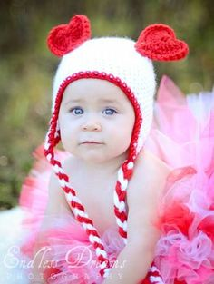 Baby Girl or Baby Boy Valentines Day Bear Heart Ears Hat with Braided Ear  Flaps- Crochet Heart Hat- Crochet Valentine Hat-Photo Prop 99c531e533ee