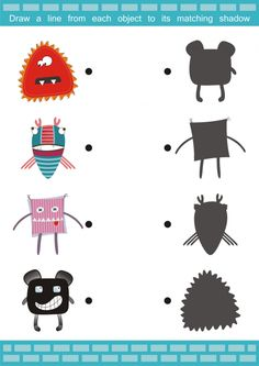 This free printable worksheet features a fun and friendly set of monsters! Students need to look at the colored images, and find their matching shadow. Have your child describe the monsters to you, and then create their own! Les Microbes, Monster Crafts, Monster Pictures, Grande Section, Free Printable Worksheets, Printables, Interesting Topics, Brain Games, Problem Solving Skills