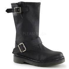 Black Pu 2 Buckle Strap Mid-Calf Pirate Boots / Grunge [RAGE302/BPU] - $76.95 : Uturn Utopia, Retro footwear, Rockabilly Shoes, Vintage Inspired Clothing, jewelry, Steampunk