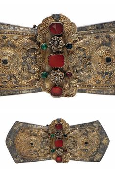 Greece | Belt buckle; silver, partially gilded, carnelian, coloured glass. L: 28 cm | ca. 1830 / 1840 (Ottoman period) | 800€ ~ sold (June '15)