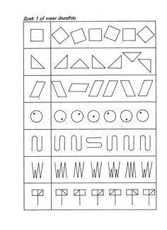 concentratie werkbladen groep 2 - Google Search Preschool Learning Activities, Kindergarten Math, Preschool Activities, Kids Learning, Fun Worksheets For Kids, Preschool Worksheets, Kids Education, Special Education, Visual Perception Activities