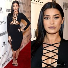 Nicole Williams Tie Up Cutout Long Sleeve Black Bandage Dress  http://www.celebdressy.com/BANDAGE-DRESS/TV-Personality-Nicole-Williams-Wore-a-Tie-Up-Cutout-Long-Sleeve-Black-Bandage-Dress-attends-the-Los-Angeles-Confidential-Magazine-celebrates-the-Grammys-with-Cover-Star-Mark-Ronson-at-Exchange-LA