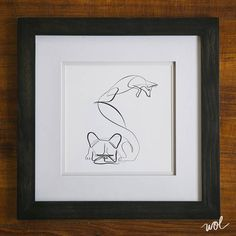 French Bulldog and Fox Print -The Quick Brown Fox Jumped Over the Lazy Dog - One Line Drawing by Dane Khy