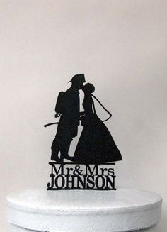 Personalized Wedding Cake Topper - Fireman and Bride Silhouette with Mr & Mrs name