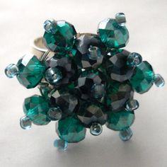 Green Crystal Bead Bling Ring £6.00 Faceted Crystal, Crystal Beads, Crystals, Organza Gift Bags, Beaded Rings, Silver Plate, Sparkle, Bling, Green