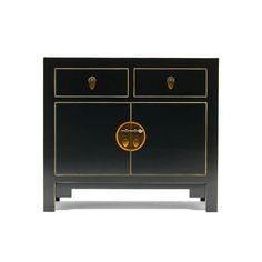 This Black Chinese Sideboard has 2 drawers and 2 doors with a shelf inside the main section. Finished in black gloss with gold edging - Free Delivery