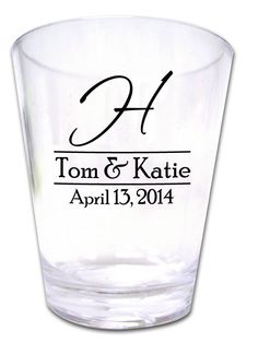 120 Personalized Wedding Favor Shot Glasses NEW Custom Wedding Designs. $97.20, via Etsy.