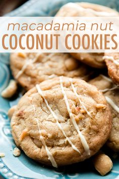These soft and chewy coconut macadamia nut cookies are baked until the edges are crisp, then drizzled with white chocolate for an extra decadent treat! Macadamia Nut Cookies, Cherry Cookies, Chocolate Macadamia Nuts, Coconut Cookies, Chocolate Drizzle, Yummy Cookies, White Chocolate, Macadamia Nut Recipes, Chocolate Covered