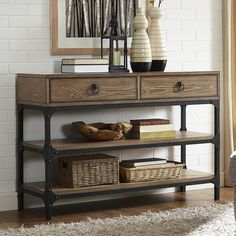 Trenton console table in coffee, as shown products интерьер. Space Furniture, Living Room Furniture, Coastal Living Rooms, Wood Shelves, Entertainment Center, Console Table, Entryway Tables, Sweet Home, Decoration