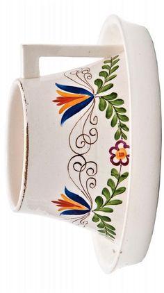 >> Podhajská Minka  Šálek s podšálkem  rytá podglaz. sign. MP, Čechy, kolem r. 1920, návrh M. Podhajská, výroba fa Graniton, Rydl & Thon Svijany-Podolí, bělnina, glazováno, kuželovitý šálek, malovaný nadglazurní květinový dekor, zhraněný postranní úchyt, výška 6 cm, horní Ø 7 cm Horn, Cuff Bracelets, Ceramics, Glass, Jewelry, Ceramica, Pottery, Jewlery, Drinkware