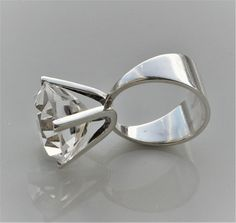 Marianne Berg, David-Andersen, Norway. Sterling Silver Modernist Cocktail Ring with Rock Crystal. 1970s