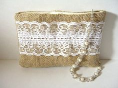 Handmade Burlap And Lace Pouch