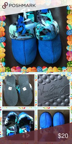 Vera Bradley Coastal Blue Cozy Slippers Furry inner very comfortable choose from size small (5-6) medium (7-8) large (9-10) brand new with tag but no box Vera Bradley Shoes Slippers