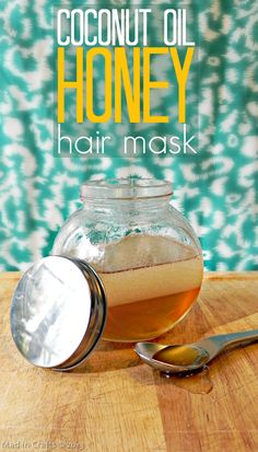 Homemade Coconut Oil and Honey Nourishing Hair Mask Tutorial - Mad in Crafts  need to try this as a prepoo