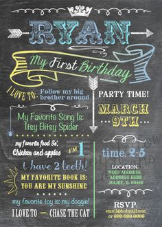 Printable Baby's Firsts Birthday Invitation - Chalkboard Look 5 x 7 Print - Digital File Only - Custom Colors. $18.00, via Etsy.