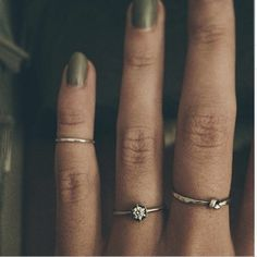 Satomi Kawakita Hexagon ring worn with Catbird First Knuckle Ring & Yayoi Forest Knot Ring. Grace Loves Lace. www.graceloveslace.com.au