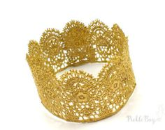 1st Birthday Crown Gold Lace Crown Headband Gold by PICKLEBUG