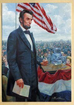 """*CIVIL WAR PRESIDENT ABRAHAM LINCOLN~ """"Gettysburg Address""""*Mort Kunstler"""