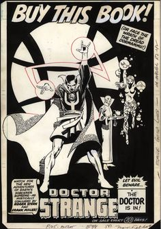 troublewithcomicsart: 1980s-era Doctor Strange house ad by Frank Miller.
