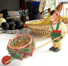 Antique German Dressed Bunny,Pushing a Basket Cart,Candy Container.