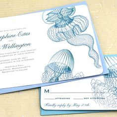 Jellyfish Nautical Wedding Invite Suite - Sample set. $3.99, via Etsy.