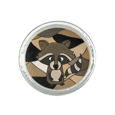 Funny Raccoon Art Ring #raccoons #animals #jewelry #rings #art And www.zazzle.com/inspirationrocks*