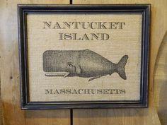 Nantucket Whale Burlap Print Wall Decor by BluffPointFolkArt
