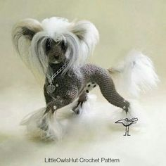 Chinese Crested Dog Level: Experienced Craft: Crochet (pattern pending) Designer: Chirkova of Little Owls Hut: http://tidd.ly/8448b37f (affiliate).