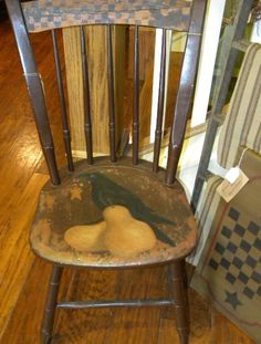 Chair with Painted Crow ansd pears