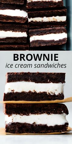 Learn how to make homemade ice cream sandwiches! Using homemade brownies and store-bought ice cream, these frozen treats are fun to make and easily customizable for your favorite ice cream flavor. Recipe on sallysbakingaddiction.com Waffle Ice Cream Sandwich, Homemade Ice Cream Sandwiches, Homemade Sandwich, Making Homemade Ice Cream, Easy No Bake Desserts, Köstliche Desserts, Frozen Desserts, Chocolate Desserts, Delicious Desserts