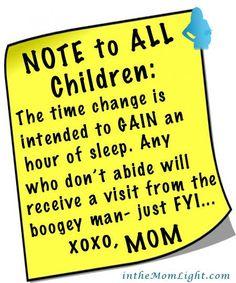 Note to all Children regarding time change.