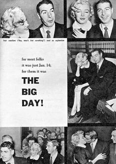 Marilyn Monroe and Joe DiMaggio, vintage magazine article about their wedding on January 14th 1954.