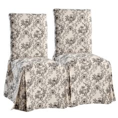 Toile Dining Chair Slipcovers (Set of 2) - Overstock™ Shopping - Big Discounts on Chair Slipcovers