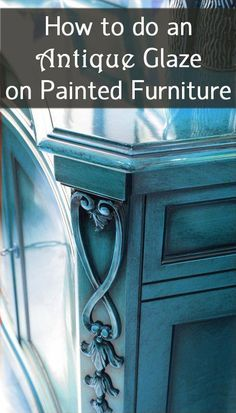 How to Do an Antique Glaze on Painted Furniture is part of Painting antique furniture - Using black paint, a glazing medium and a few drops of water, you can create a dark, antique glaze giving your furniture character and depth Refurbished Furniture, Repurposed Furniture, Shabby Chic Furniture, Furniture Makeover, Vintage Furniture, Modern Furniture, Furniture Design, Vintage Sofa, Luxury Furniture